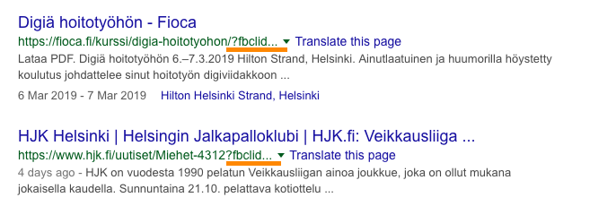 fbclid Googlen hakutuloksissa
