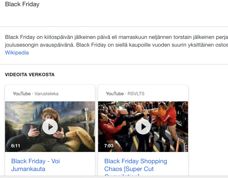 Googlen videokaruselli hakutuloksissa Black Fridayna
